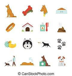 Dog Icons Flat