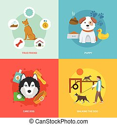 Dog Icons Flat Set