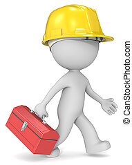 Repairman. - Dude 3D character the builder with toolbox and...