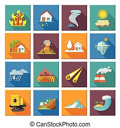 Natural Disaster Icons - Natural disaster icons set with...