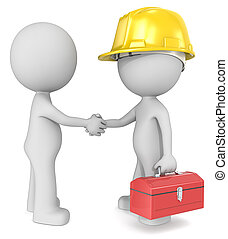 Agreement. - Dude 3D characters X2 shaking hands with...