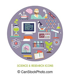 Science And Research Icon Flat - Science and research...