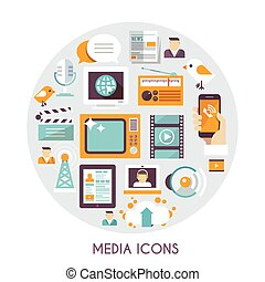 Mass Media Concept - Mass media concept with social blog...
