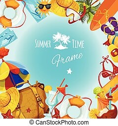Summer Holidays Frame - Summer holidays decorative postcard...