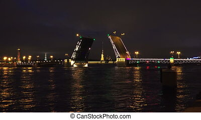 Palace drawbridge. Saint-Petersburg. White nights. Neva. The...