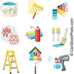 Painting Work Set - Painting work decorative icons set with...