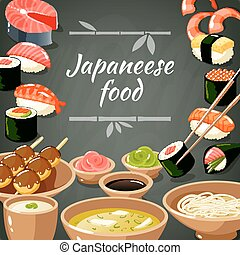 Sushi Food Illustration - Japanese food poster with sushi...
