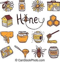 Honey Icons Set - Honey hand drawn decorative icons set with...