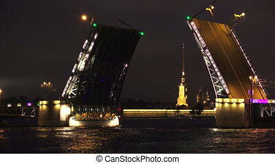 Palace drawbridge Saint-Petersburg White nights Neva The...