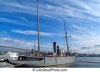 Restored steam ship - Old warship museum parked on the...