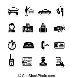 Taxi Icons Black - Taxi icons black set with luggage order...