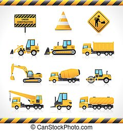 Construction Machines Set - Construction machines decorative...