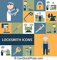 Locksmith Icons Set - Locksmith repairman metal worker...