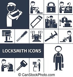 Locksmith Icons Black - Locksmith equipment decorative icons...