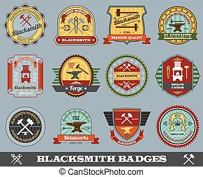 Blacksmith Badges Set - Blacksmith foundry metalwork...