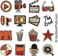Cinema vintage icons set color - Vintage cinema filmmaking...