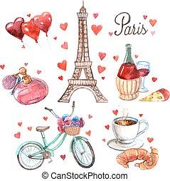 Paris symbols watercolor icons composition