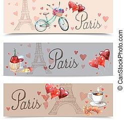Paris watercolor symbols banners