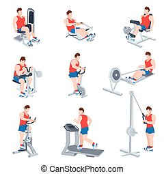 Exercise Machines Set - Sport exercise machines and fitness...