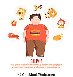 Bulimia Concept Flat - Bulimia support group concept with...