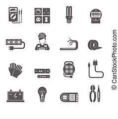 Electricity Icons Set - Electricity black icons set with...