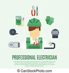 Professional Electrician Concept - Professional electrician...