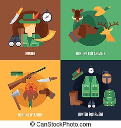 Hunting Flat Set - Hunting design concept set with hunter...