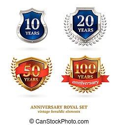 Anniversary golden heraldic labels set