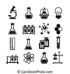 Chemistry icons set black - Chemistry scientific research...