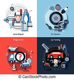 Car Repair Set - Car repair design concept set with auto...