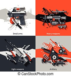Weapon Design Concept - Weapon design concept set with small...