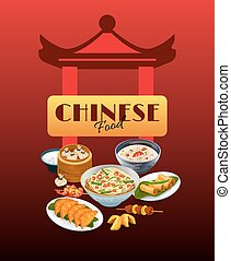 Asian Food Poster - Asian food poster with chinese gates and...
