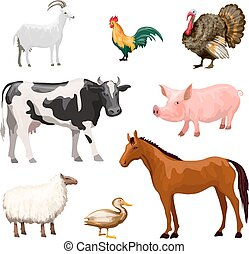 Farm Animals Set - Farm animals decorative icons set with...