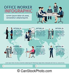 Office Worker Infographics - Office worker infographics set...