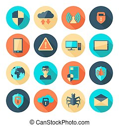Network Security Icons - Network information data security...