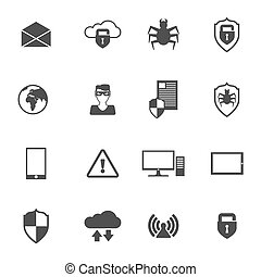 Network Security Icons - Network security safe information...