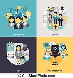 Human Resources Flat - Human resources design concept set...