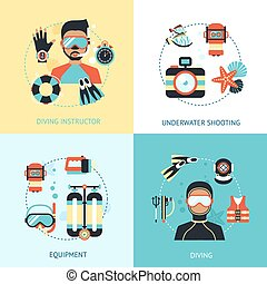 Diving Design Concept - Diving design concept set with...
