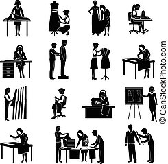 Dressmaker Icons Set - Dressmaker black icons set with...