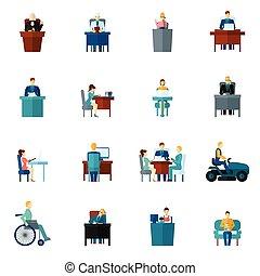 plano, sedentario, iconos
