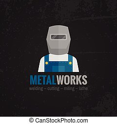 Metalworking icon poster flat - Metal working factory welder...