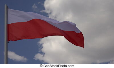 Flag Of Poland - Flag Of Poland on the background of the sky...