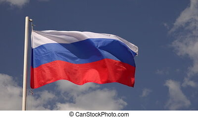 Flag Of Russia - Flag Of Russia on the background of the sky...