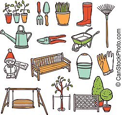 Gardening Tools Set - Gardening tools decorative icons set...