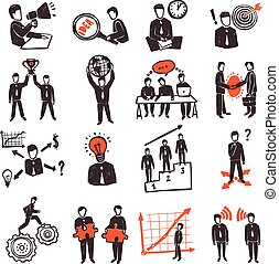 Meeting People Icon Set - Meeting icon set with hand drawn...