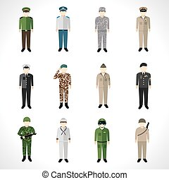 Military Avatars Set - Military soldier in uniform avatar...