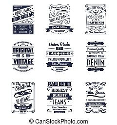 Denim typography logo emblems set - Classical denim jeans...
