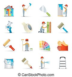 Painter icons set flat - House renovation wall painting with...