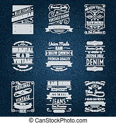 Denim jeans white typography labels set isolated vector...