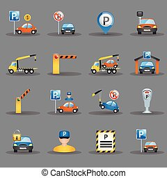 Parking facilities flat icons graphite background - Parking...